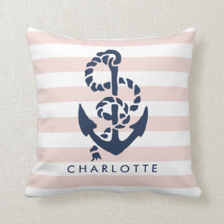 Rope & Anchor Pink Stripe Nautical Personalized Pillow