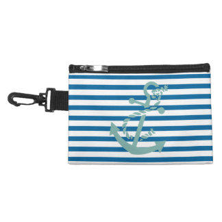 Rope and Anchor Blue and White Horizontal Stripe Accessory Bag