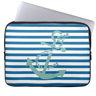 Rope and Anchor Blue and White Horizontal Stripe Laptop Sleeve