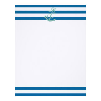 Rope and Anchor Blue and White Horizontal Stripe Letterhead