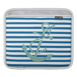 Rope and Anchor Blue and White Horizontal Stripe Sleeve For iPads