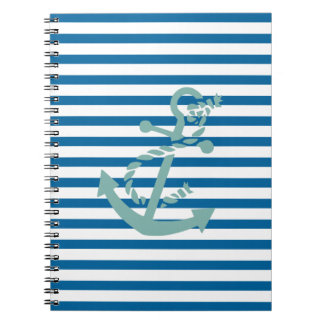 Rope and Anchor Blue and White Stripe Notebook