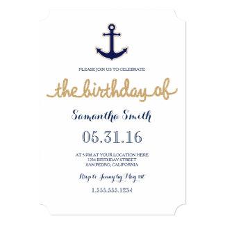 Rope and Anchor Nautical Birthday Invitation