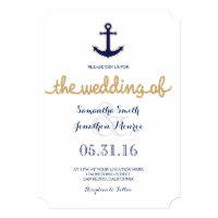 Rope and Anchor Nautical Wedding Invitation