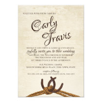 Rope and Horse Shoes Wedding Invitation