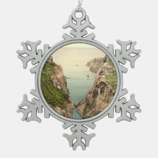 Rope Bridge, Carrick-a-Rede, County Antrim Snowflake Pewter Christmas Ornament