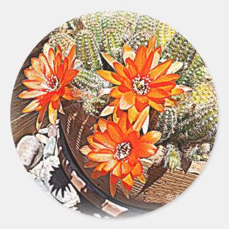 Rope Cactus Blooms Classic Round Sticker