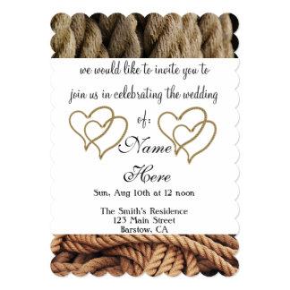 rope hearts wedding bridal bride groom guests card