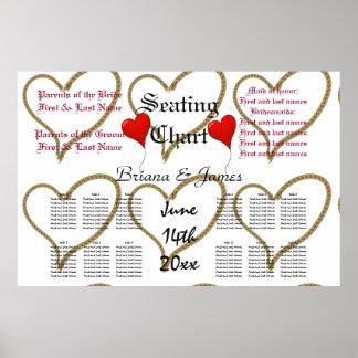 Rope Hearts Wedding Seating Chart Bride Groom