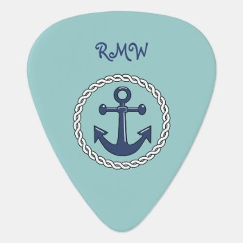Rope N Anchor Monogrammed Guitar Pick by CruiseReady at Zazzle