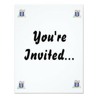 """Rope Tension Drum Graphic image design 4.25"""" X 5.5"""" Invitation Card"""
