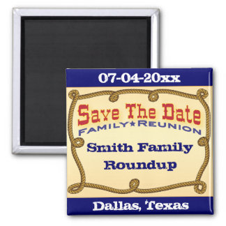 Rope western save the date fridge magnet