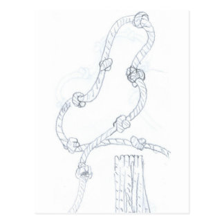 rope with we done drawing the hand postcard
