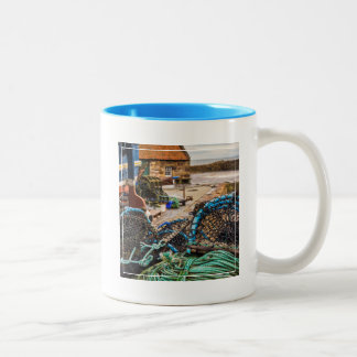 Ropes And Lobster Pots | Pittenweem, Scotland Two-Tone Coffee Mug