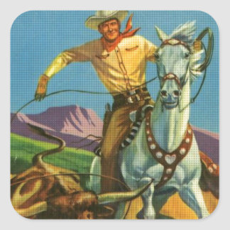 Roping a Steer Square Sticker