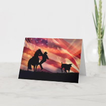 Roping American Cowboy with Horse and Steer Card