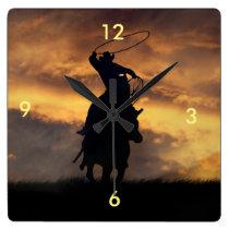 Roping Cowboy and Steer Clock