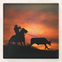 Roping Cowboy Horse and Steer Glass Coaster