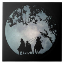 Roping Cowboys and Full Moon Art Tile