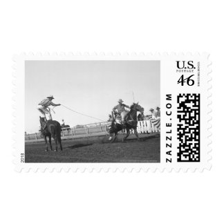 Roping horse stamp