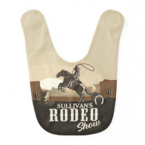 Roping Roundup Western Rodeo Show Personalized Baby Bib