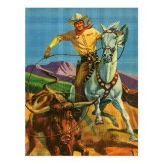 Roping un buey postales