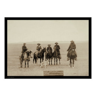 Roping un lobo gris en Wyoming 1887 Póster