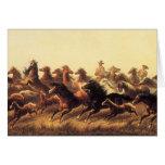 Roping Wild Horses by James Walker Card