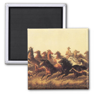 Roping Wild Horses by James Walker Magnet