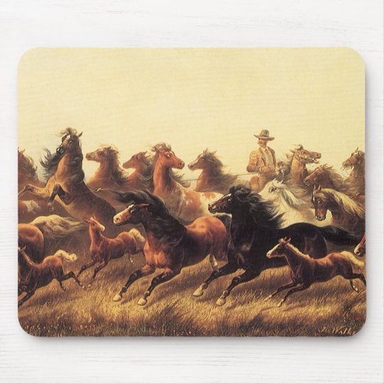 Roping Wild Horses by James Walker Mouse Pad