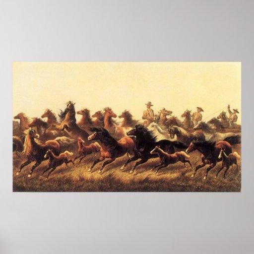 Roping Wild Horses by James Walker Print