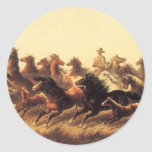 Roping Wild Horses by James Walker Classic Round Sticker