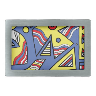 Rorabacher Abstract Expression Yellow Blue Rectangular Belt Buckle