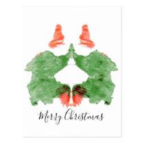 Rorschach Inkblot Santa's Elves Postcard
