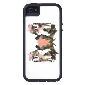 Rorschach negro y rosado en el caso del iPhone 5