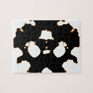 Rorschach Test of an Ink Blot Card in Black and Wh Jigsaw Puzzle
