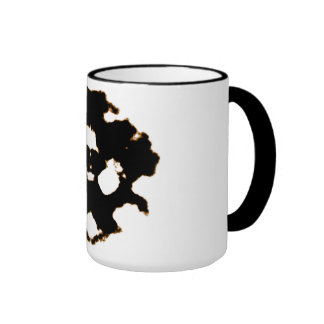 Rorschach Test of an Ink Blot Card in Black and Wh Ringer Mug