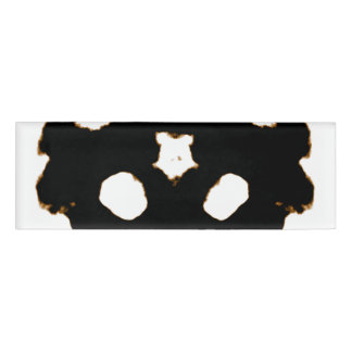Rorschach Test of an Ink Blot Card in Black Name Tag