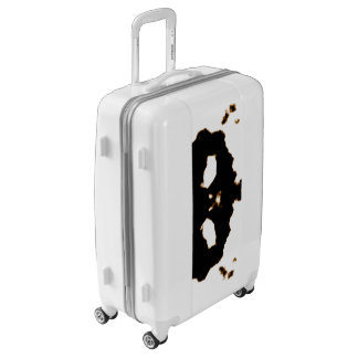 Rorschach Test of an Ink Blot Card on White Luggage