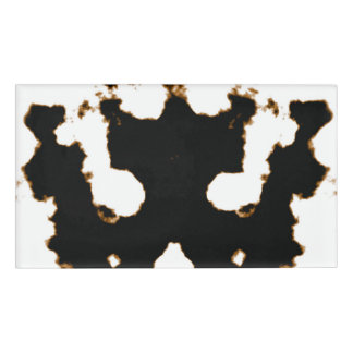 Rorschach Test of an Ink Blot Card on White Name Tag