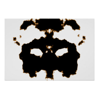 Rorschach Test of an Ink Blot Card on White Poster
