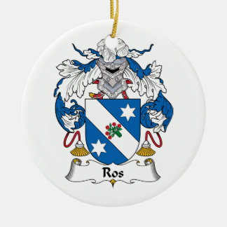 Ros Family Crest Double-Sided Ceramic Round Christmas Ornament