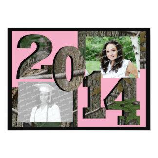 Rosa 2014 de la foto del gemelo del graduado de invitación personalizada