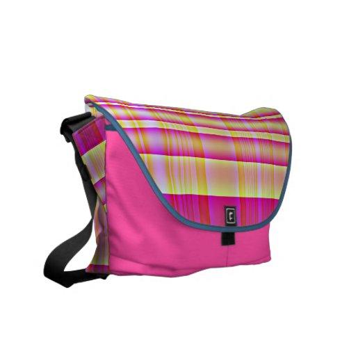 Rosa 2 de la tela escocesa bolsas de mensajeria