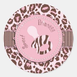 Rosa 2 del pegatina del chica del guepardo