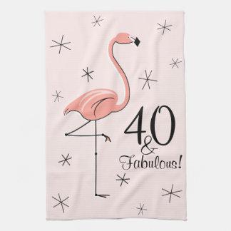 ¡Rosa 40 del flamenco y fabuloso! toalla de cocina