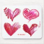 Rosa 4 de 4 corazones nunca en Mousepad blanco Tapete De Ratones