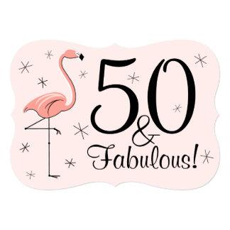 """Rosa """"50 del flamenco y"""" soporte fabuloso de la invitación 5"""" x 7"""""""