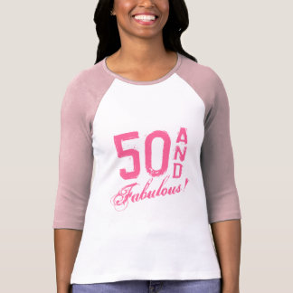 ¡Rosa 50 y fabuloso Camiseta del cumpleaños para