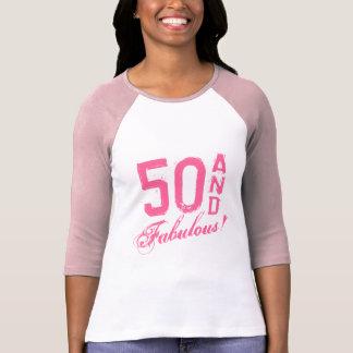 ¡Rosa 50 y fabuloso! Camiseta del cumpleaños para Polera